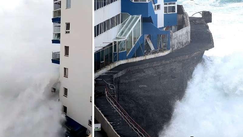Гігантська хвиля поруйнувала готель на Канарах (відео)